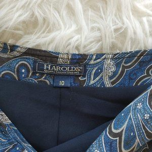 Harold's Skirts - Waves & Loops Blue Skirt Size 10